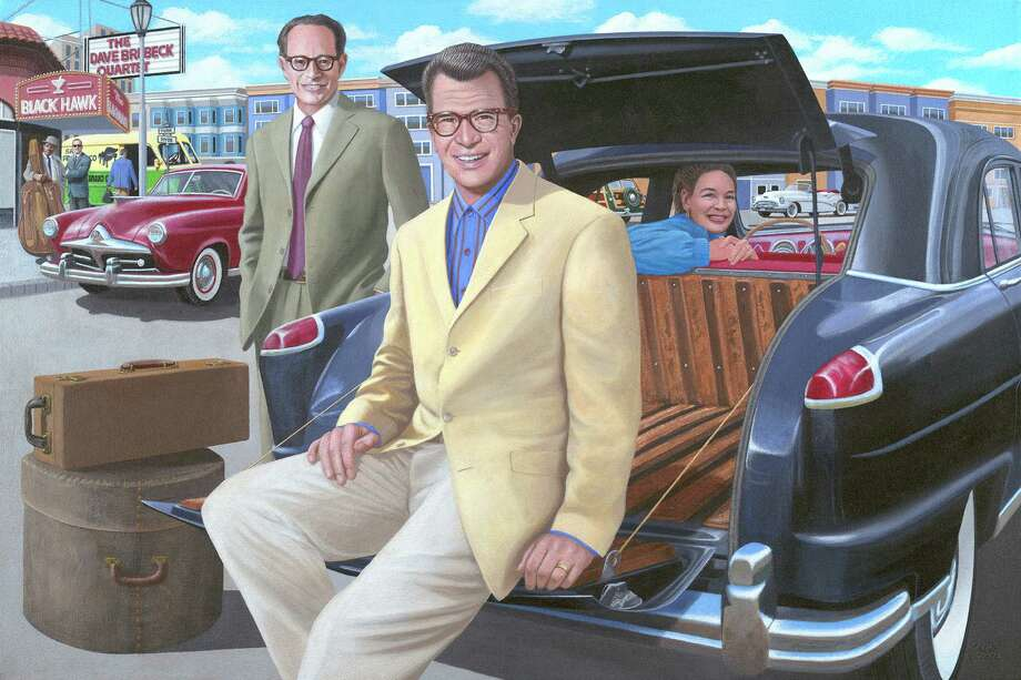 "Members of the Dave Brubeck Quartet are shown here, along with Brubeck's wife, in front of the famous Blackhawk Jazz Club in San Francisco, Calif. Brubeck once told New Milford artist Chris Osborne his favorite car was his 1951 Kaiser Vagabond, seen here. The painting is among Osborne's works that are part of a new show in Newtown. The exhibit, called ""Starlight Drive,"" opens Sunday, Feb. 17. Photo: Contributed Photo"