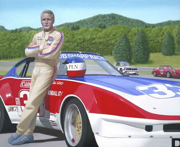 "Paul Newman and the #33 Bob Sharp Datsun at Lime Rock is shown here. It's among the paintings by New Milford artist Chris Osborne that will be on exhibit in Newtown, starting Sunday, Feb. 17. The new show is called ""Starlight Drive."" Photo: Contributed Photo"