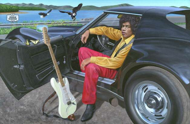 """Jimi Hendrix and his Corvette Stingray,"" painted by New Milford artist Chris Osborne, is part of ""Starlight Drive: Stars With Their Cars,"" a new exhibit opening in Newtown. Photo: Contributed Photo"