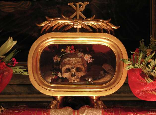 A skull identified as belonging to St. Valentine is on display (and brought out for the festival on Feb. 14) at St. Maria's basilica in Cosmedin, Rome.
