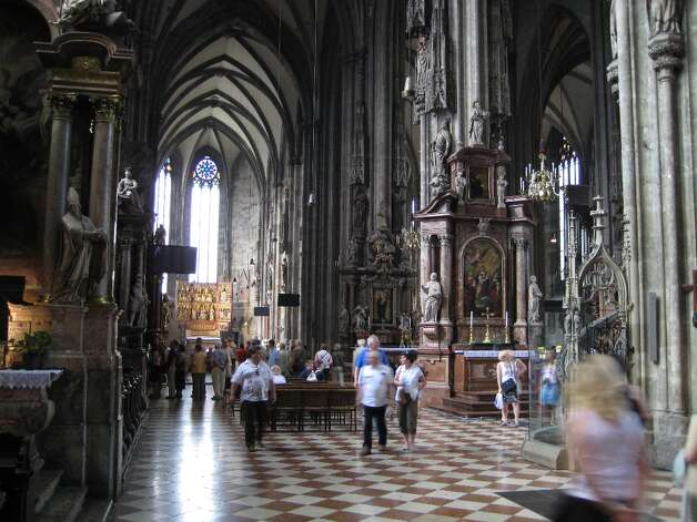 A large chest is in the St. Valentine's Chapel of St. Stephen's Cathedral in Vienna is said to hold the bones of the saint -- not to mention a piece of the tablecloth from the last supper. (Who knew?) Oddly, the cathedral's website makes no mention of it.