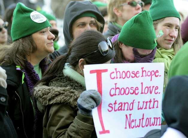 "Nicole Hockley, mother of shooting victim, Dylan Hockley, attends a ""March for Change"" rally on the steps of the Capital in Hartford, Conn. Thursday, February 14, 2012. Photo: Carol Kaliff / The News-Times"