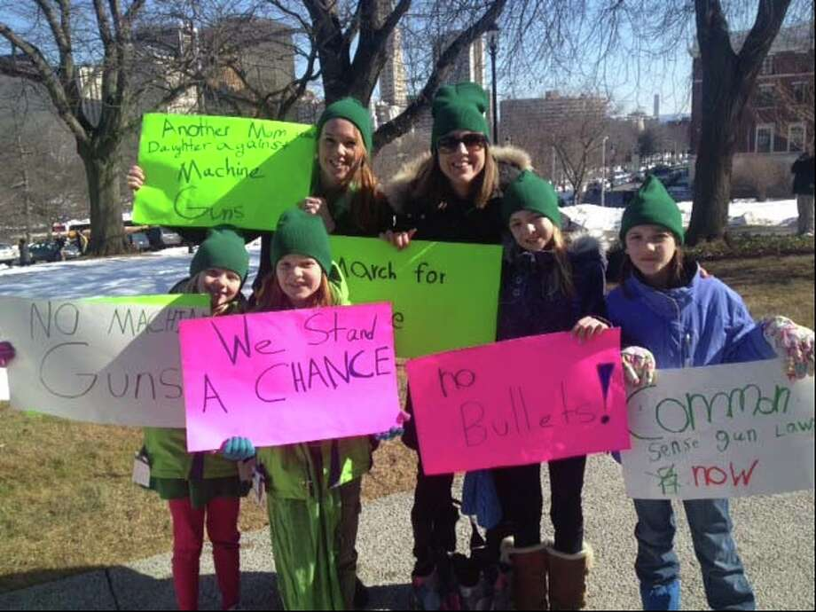 Participating in the March for Change are, from left, first-grader Eloise Svedlund, third-grader Annika Svedlund, parent Elizabeth Svedlund, parent Carrie Bernier Petti, fifth-grader Tatum Petti and third-grader Sophie Petti. Photo: Contributed