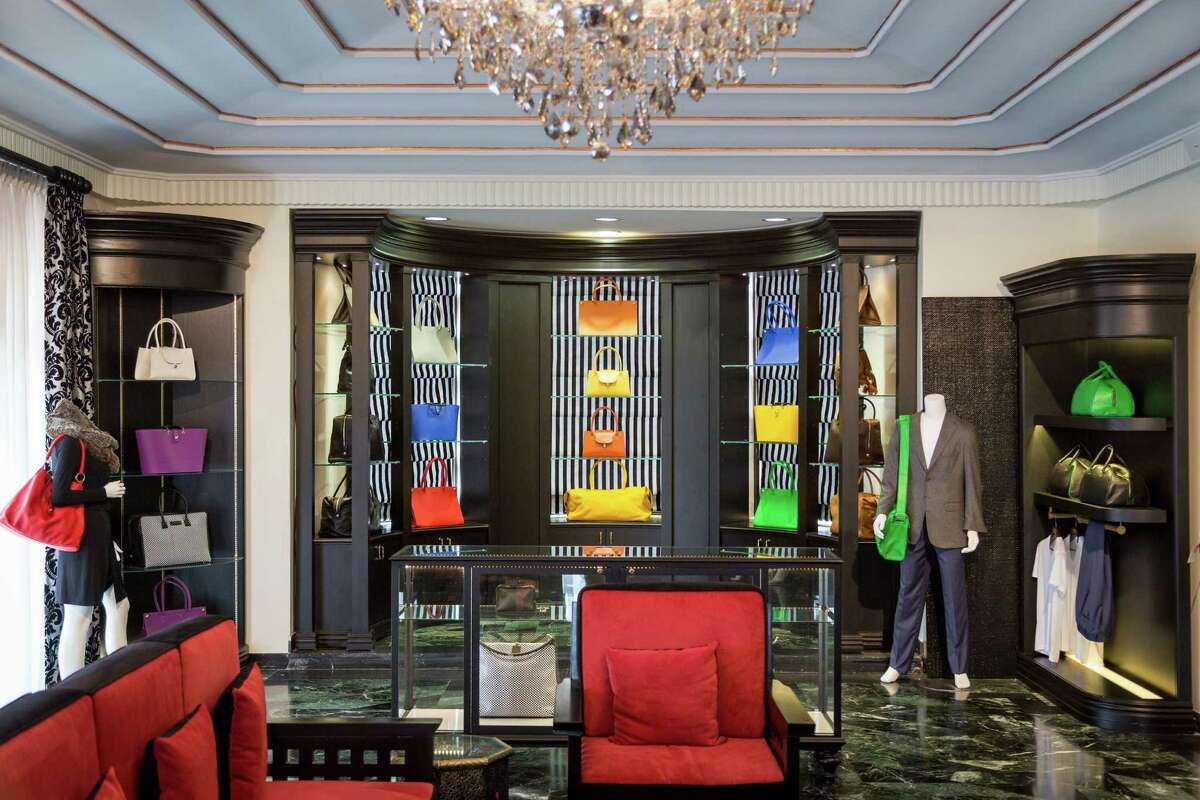 The 17,000-square foot mansion is the headquarters and showroom for the clothing line, which features leather goods for men and women, men's suiting and custom shirts and shoes.