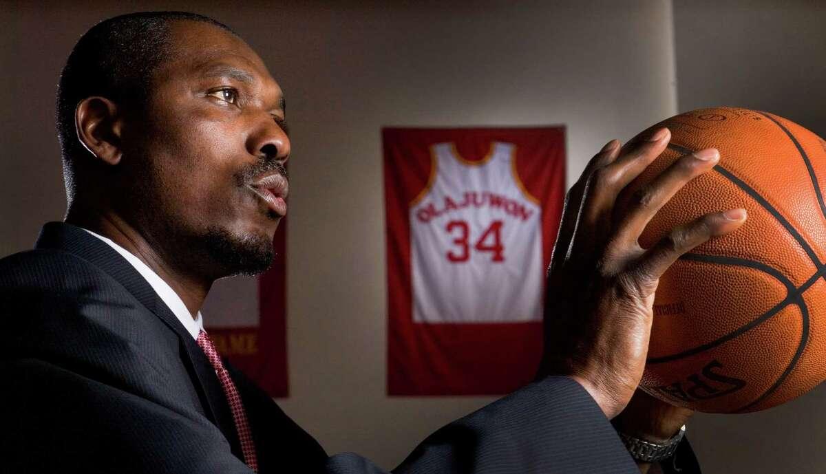 Former Houston Rockets center and future Hall of Famer Hakeem Olajuwon poses for a portrait Friday, April 11, 2008, in Houston. ( Brett Coomer / Chronicle )