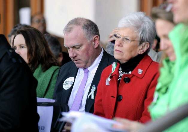 "Attorney General George Jepson, left, and Lt. Gov. Nancy Wyman attend the ""March for Change"" rally is held on the steps of the Capital in Hartford, Conn., Thursday, Feb. 14, 2013, to promote common sense and practical changes to the state's gun laws. Photo: Carol Kaliff / The News-Times"