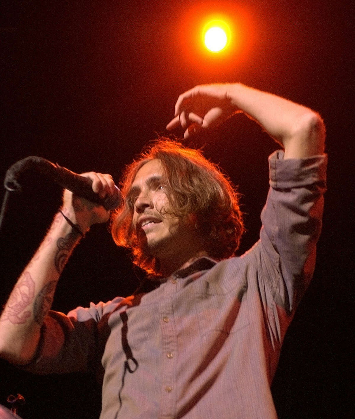 **FILE**Brandon Boyd of Incubus performs at Lollapalooza in Noblesville, Ind., on July 5, 2003. Boyd, 28, pleaded guilty Tuesday, Nov. 23, 2004, to disorderly conduct and was fined $250 for carrying a switchblade in his bag while trying to board a plane in the Queens borough of New York.(AP Photo/Seth Rossman)