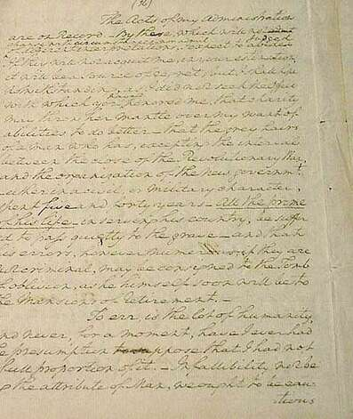 Single page of George Washington's Farewell Address, 1796. (George Washington Relics, New York State Library)