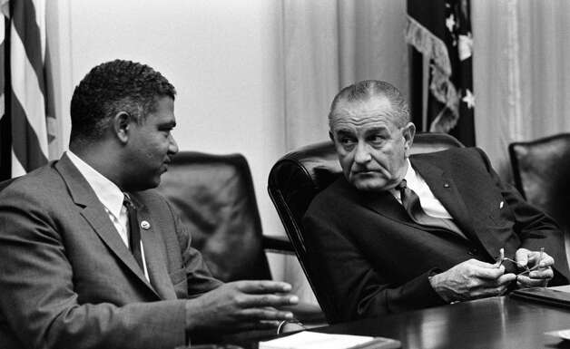 "Civil rights leader Whitney M. Young, speaking with President Lyndon Johnson, in a scene from ""Independent Lens', ""The Powerbroker: Whitney Young's Fight for Civil Rights."" Photo: Lyndon Baines Johnson Library, PBS / SFC"