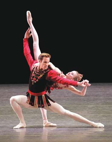 Sterling Hyltin and Andrew Veyette in  Rubies from Jewels  Choreography George Balanchine  c. The George Balanchine Trust New York City Ballet   Credit Photo: Paul Kolnik / © 2011 Paul Konik