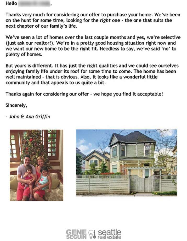 Dear seller letters work for home buyers seattlepi john and ana griffin buyer letter photo john and ana griffincourtesy gene altavistaventures Gallery