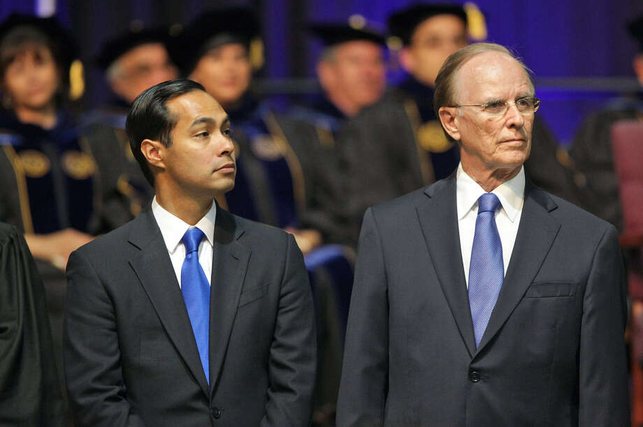 Bexar County Judge Nelson Wolff (right), with Mayor Julían Castro, says opposition is common when streetcars are first under discussion. Photo: File Photo, San Antonio Express-News