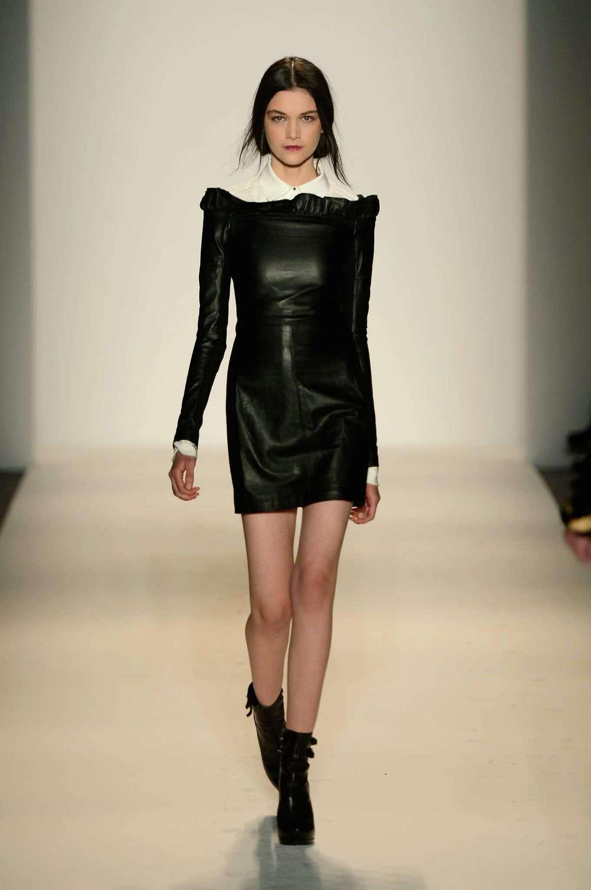 A model walks the runway at the Rachel Zoe Spring 2013