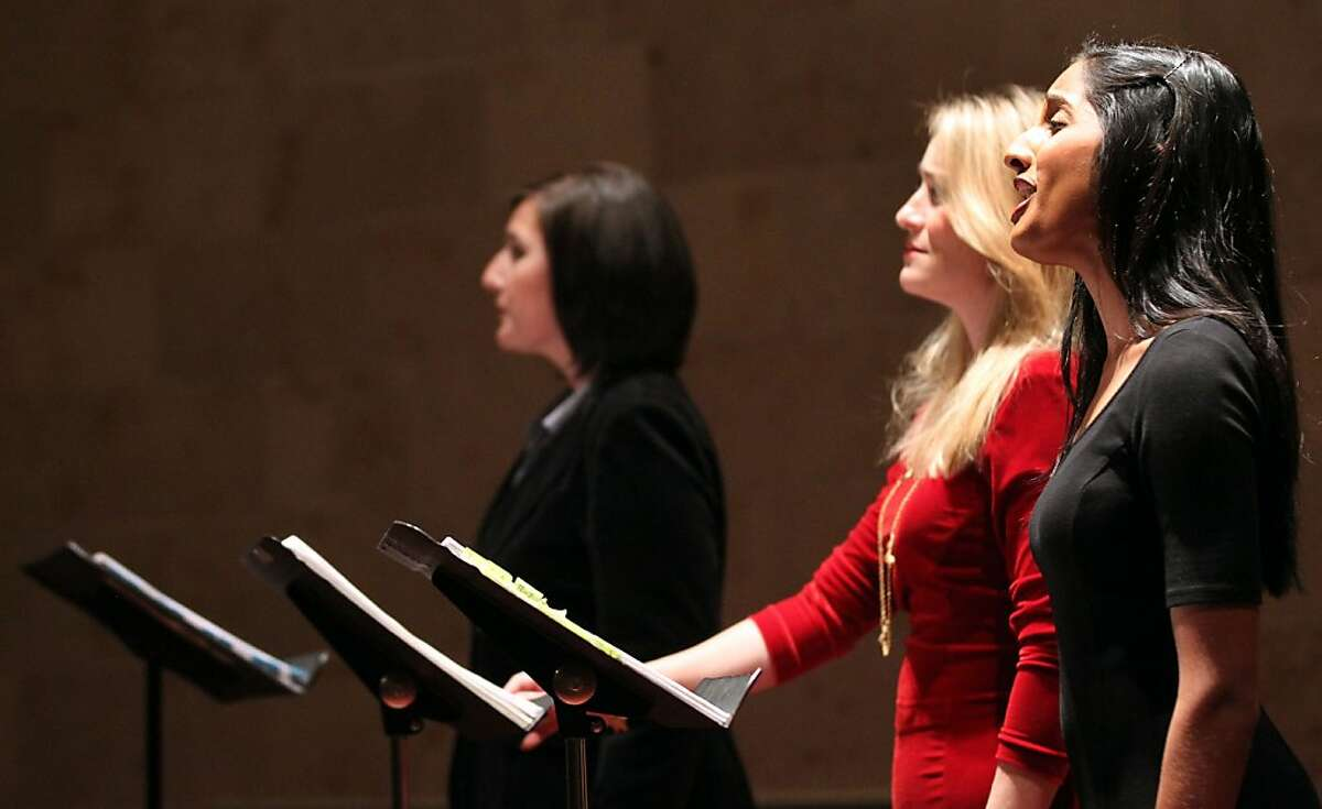 Opera singers L to R Lisa Chavez, Marnie Breckenridge and Maya Kherani perform in Osvaldo Golijov's Opera Ainadamar,