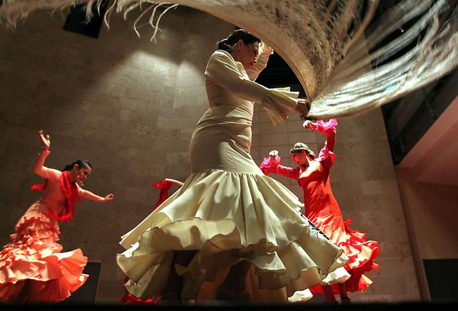"Flamenco dancer and choreographer La Tania (in white) performs in Osvaldo Golijov's ""Ainadamar,"" about the life of poet Federico Garcia Lorca. Photo: Lance Iversen, The Chronicle"