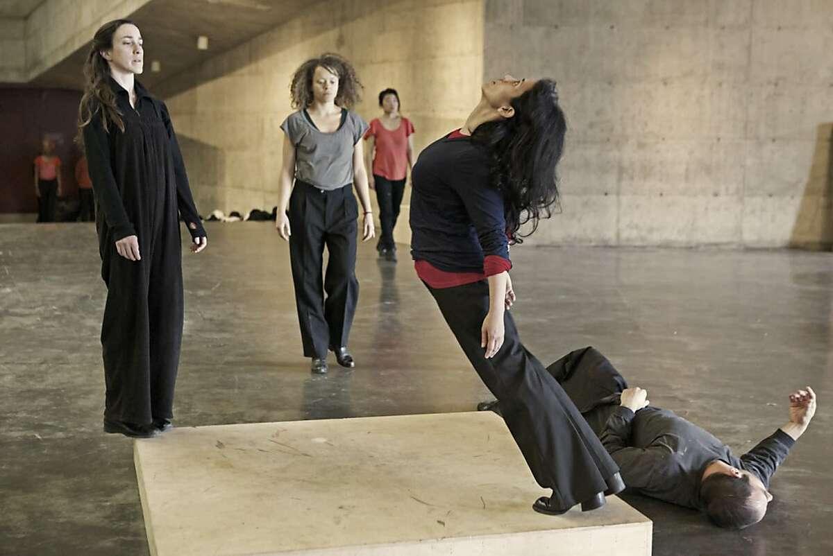 Caption: Dana Iova-Koga, Briana Dickinson, Theresa Wong, Jay Coscullueia and Benjamin Jarrett in rehearsal for Anna Halprin's