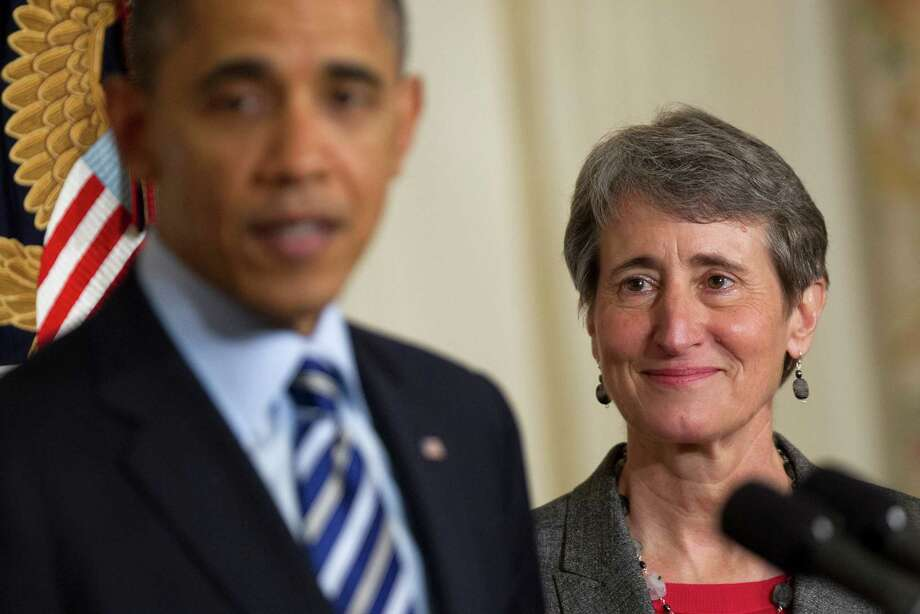 President Barack Obama introduced Sally Jewell, CEO of REI, as his nominee for secretary of Interior at the White House last week. Jewell's background is in engineering, banking, energy and retail. Photo: Andrew Harrer / Copyright 2013 Bloomberg Finance LP
