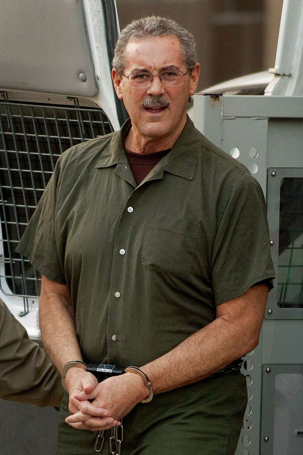 """R. Allen Stanford Founder and CEO Sentence: 110 years Indicted financier R. Alle n Stanford, accused of leading a $7 billion investment fraud scheme, arrives at the Bob Casey Federal Courthouse in Houston, Texas, U.S., on Monday, March 5, 2012. Stanford """"flushed"""" investor money away on failing businesses, yachts and cricket tournaments, prosecutors told jurors who began deliberations on whether the Texas financier led a massive Ponzi scheme. Photographer: F. Carter Smith/Bloomberg *** Local Caption *** R. Allen Stanford"""
