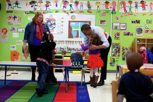 President Barack Obama visits a pre-kindergarten classroom at College Heights Early Childhood Learning Center in Decatur, Ga., Thursday, Feb. 14, 2013. Photo: Evan Vucci, Associated Press / AP