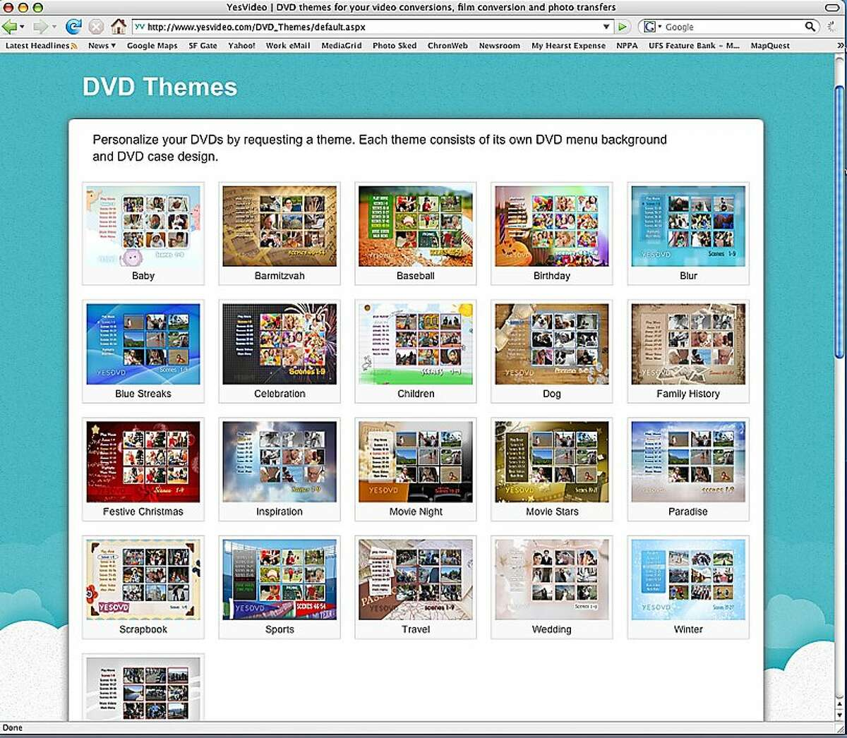 YesVideo will personalize images into a themed DVD. Each theme has its own DVD menu background and DVD case design.