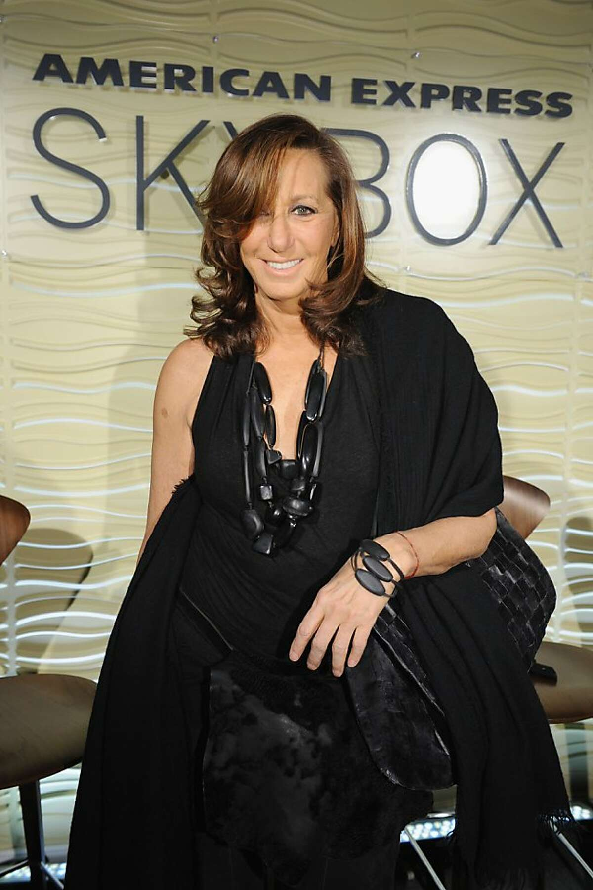 NEW YORK, NY - FEBRUARY 13: Donna Karan visits the American Express Skybox to celebrate the launch of American Express Sync with Twitter during Mercedes Benz Fall 2013 Fashion Week at Lincoln Center on February 13, 2013 in New York City. (Photo by Bryan Bedder/Getty Images for American Express)