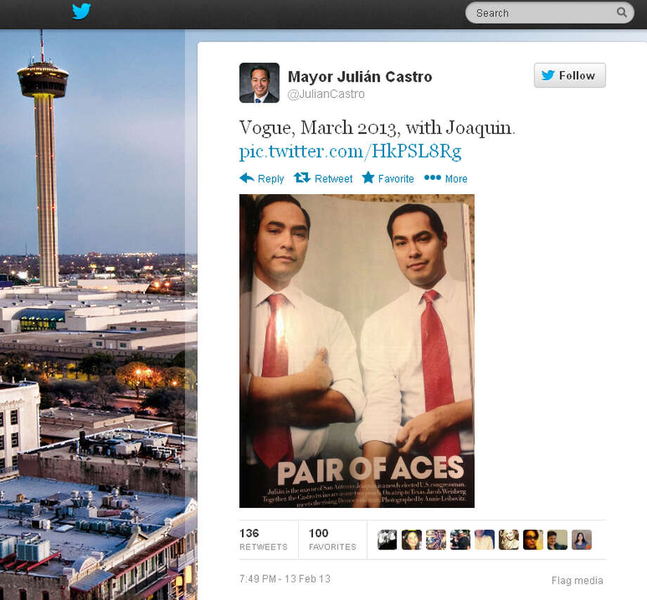 Mayor Julián Castro tweeted a snapshot of the story featuring him and brother Joaquin in the March 2013 edition of Vogue magazine. Photo: Mayor Julián Castro Via Twitter