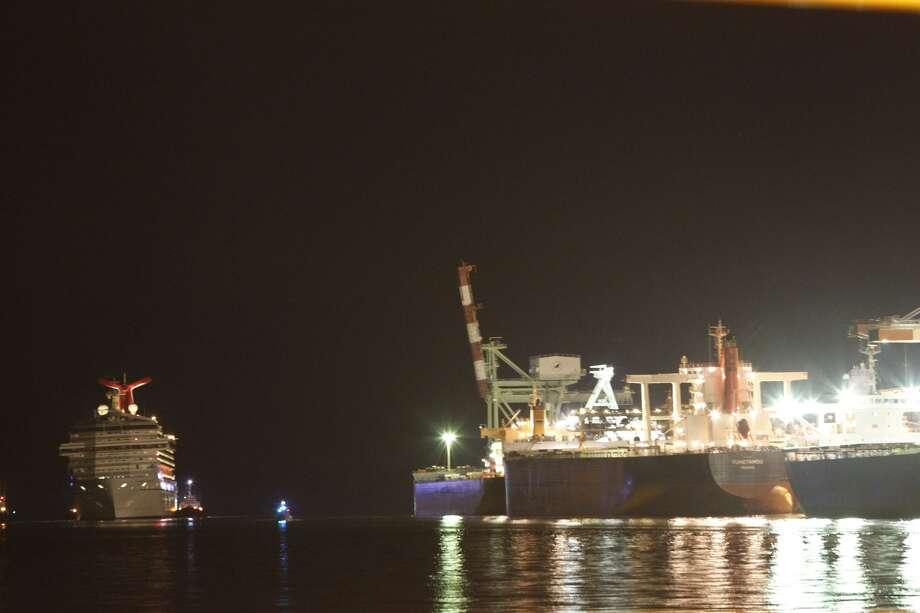 The ship approaches the Alabama Cruise Terminal Thursday night.