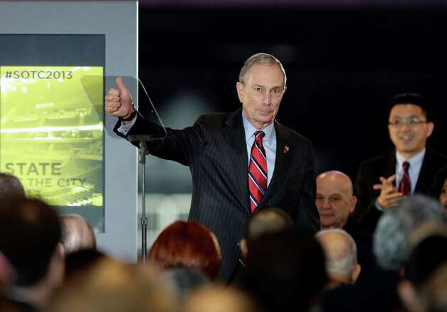 New York City Mayor Michael Bloomberg waves to the crowd after the State of the City address Thursday, Feb. 14, 2013, in New York.  Bloomberg has reached a milestone, his 12th and final State of the City address. (AP Photo/Frank Franklin II) Photo: Frank Franklin II