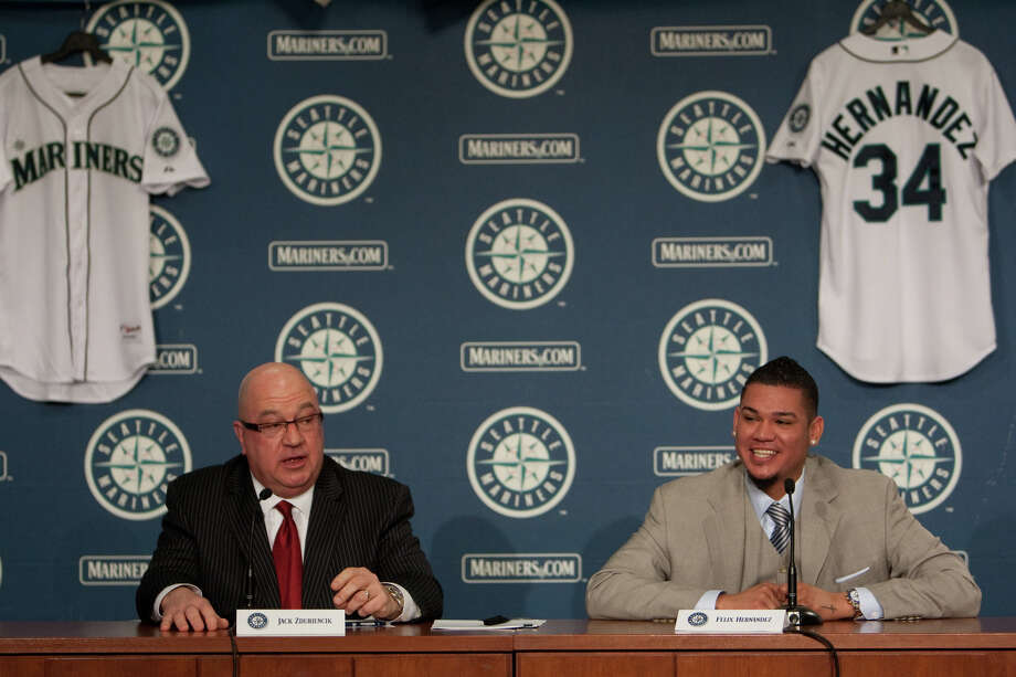 Seattle Mariners pitcher Felix Hernandez speaks as he signs a 7 year deal with Mariners General Manger Jack Zduriencik on Wednesday, February 13, 2013 at Safeco Field in Seattle. Photo: JOSHUA TRUJILLO, SEATTLEPI.COM / SEATTLEPI.COM