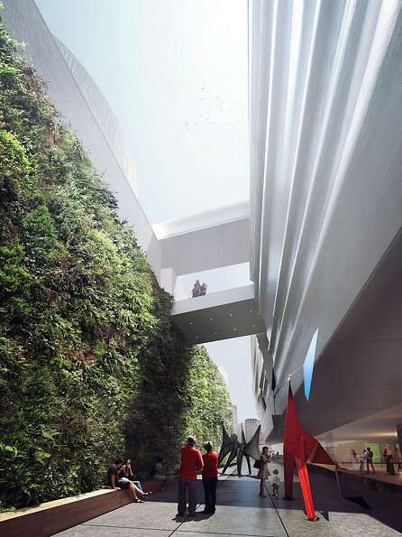 A computer rendering shows the sculpture terrace and vertical garden proposed as part of the SFMOMA