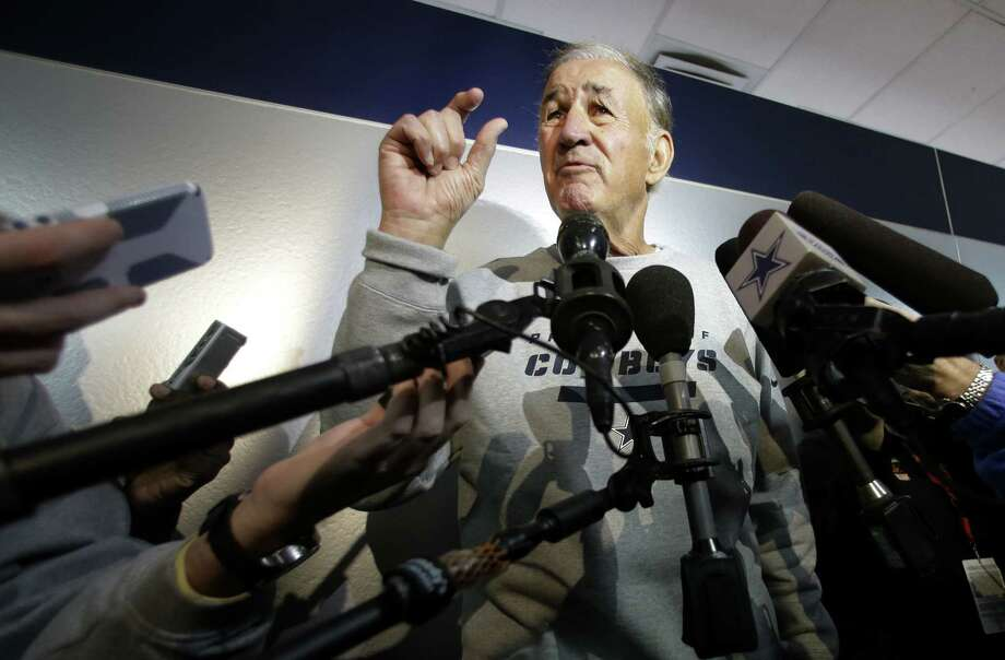 New Cowboys defensive coordinator Monte Kiffin gestures as he responds to a question at a news conference Thursday. The team will switch from a 3-4 to a 4-3 system under Kiffin, who led ferocious defenses while in Tampa Bay from 1996-2008. Photo: Tony Gutierrez / Associated Press