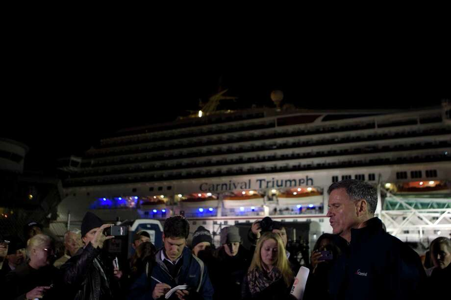 Carnival cruise CEO Micky Arison addresses the media as the stranded Carnival Triumph ship made to the Alabama Cruise Terminal Thursday, Feb. 14, 2013, in Mobile.  The Triumph left Galveston on Thursday and was scheduled to return on Monday.  The vessel became stranded after an engine fire leaving the 4,000 passengers floating at sea. Photo: Johnny Hanson, Houston Chronicle / © 2013  Houston Chronicle