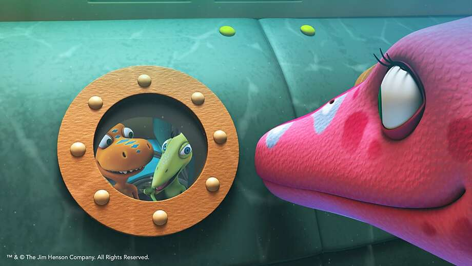 "Buddy and the Pteranodon family ride in a submarine in the ""Dinosaur Train"" special. Photo: The Jim Henson Company, PBS"
