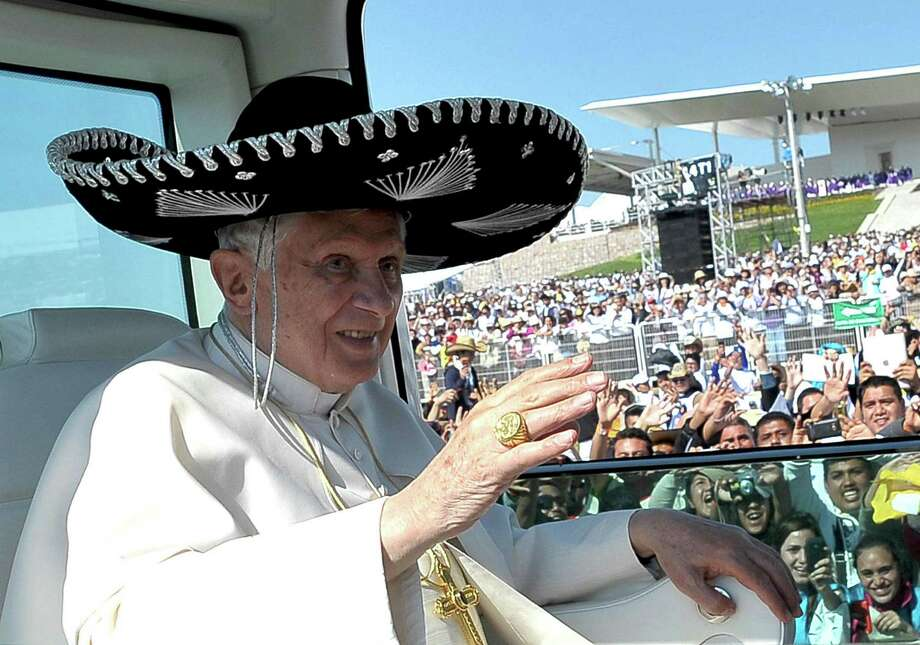 "FILE -- In this file photo taken on March 25, 2012, Pope Benedict XVI waves from the popemobile wearing a Mexican sombrero as he arrives to give a Mass in Bicentennial Park near Silao, Mexico.  Turin's  La Stampa newspaper reported Thursday, Feb. 14, 2014, that Benedict hit his head and bled when he got up in the middle of the night in an unfamiliar bedroom in Leon, Mexico. The report said blood stained his hair, pillow and floor. Vatican spokesman the Rev. Federico Lombardi confirmed the incident but said ""it was not relevant for the trip, in that it didn't affect it, nor in the decision"" to resign. (AP Photo/Osservatore Romano) / OSSERVATORE ROMANO"
