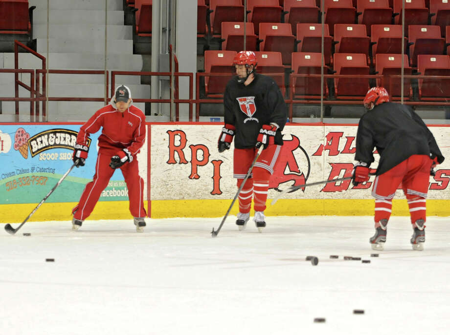 RPI hockey players practice in the Houston Field House at Rensselaer Polytechnic Institute on Wednesday Feb. 13, 2013 in Troy, N.Y.  (Lori Van Buren / Times Union) Photo: Lori Van Buren