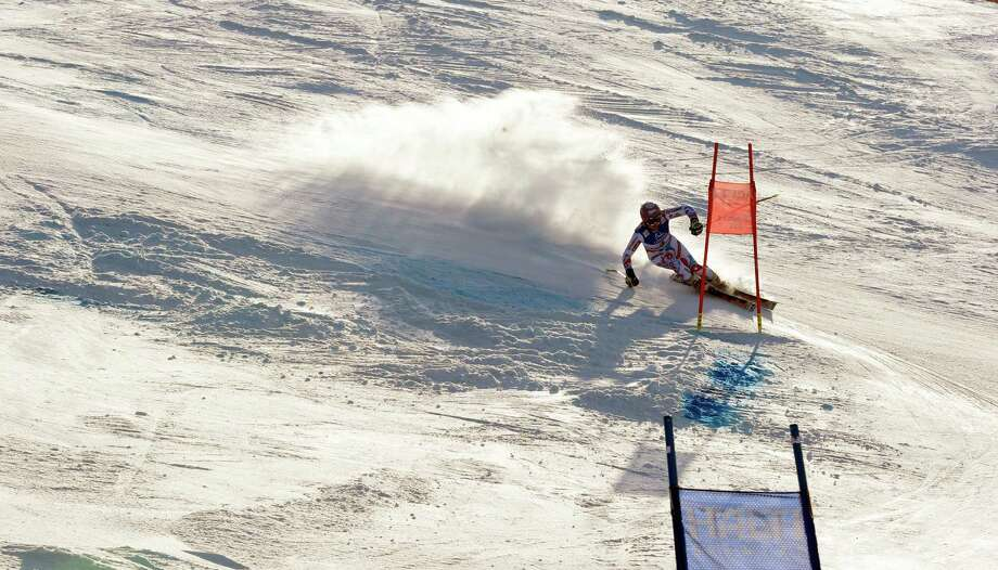 France's Tessa Worley speeds down the course on her way to win the women's giant slalom, at the Alpine skiing world championships in Schladming, Austria, Thursday, Feb.14, 2013. (AP Photo/Alessandro Trovati) Photo: Alessandro Trovati / AP