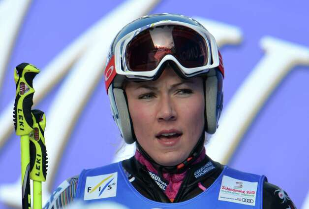 United States's Mikaela Shiffrin reacts during the first run of the women's giant slalom  at the Alpine skiing world championships in Schladming, Austria, Thursday, Feb. 14, 2013. (AP Photo/Kerstin Joensson) Photo: Kerstin Joensson