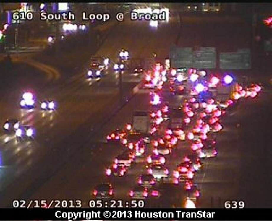 Portions of the South Loop near the Gulf Freeway were temporarily shut down after a big rig crash early Friday morning. Photo: Houston Transtar