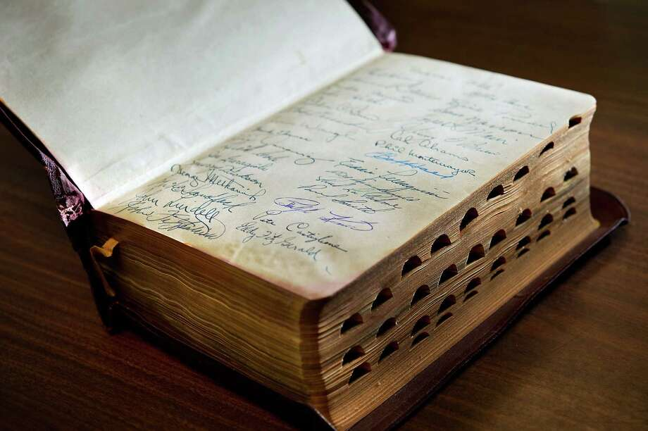 In rare books. This Bible was autographed by Ralph Kiner and other long-ago Pittsburgh Pirates. Photo: Randall Benton, McClatchy-Tribune News Service / Sacramento Bee