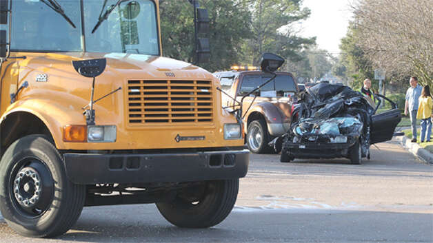 Police are investigating a wreck involving an HISD school bus and Honda Accord early Friday morning at the intersection of Braeburn Valley and Beechnut. One girl on the bus and the car driver went to the hospital. (Nick de la Torre / Houston Chronicle) Photo: Nick De La Torre, .