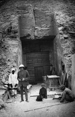 Mr Callender, assistant to British archaeologist Howard Carter at the entrance to the tomb of Egyptian pharaoh Tutankhamun, in the Valley of the Kings at Luxor. Photo: General Photographic Agency, Getty Images / Getty 2013