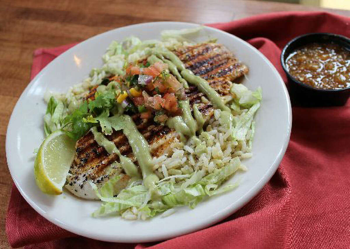 Barriba Cantina's Perla's Pan Seared Fish & Rice is offered as a lunch and dinner special during Lent.