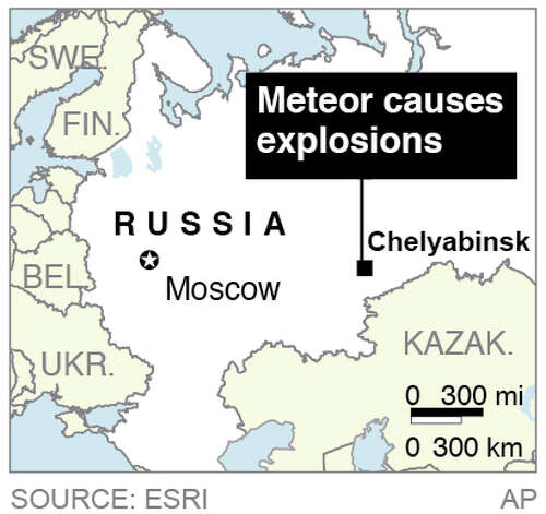 Map locates Chelyabinsk, Russia, where a meteor caused explosions in the area; Photo: AP