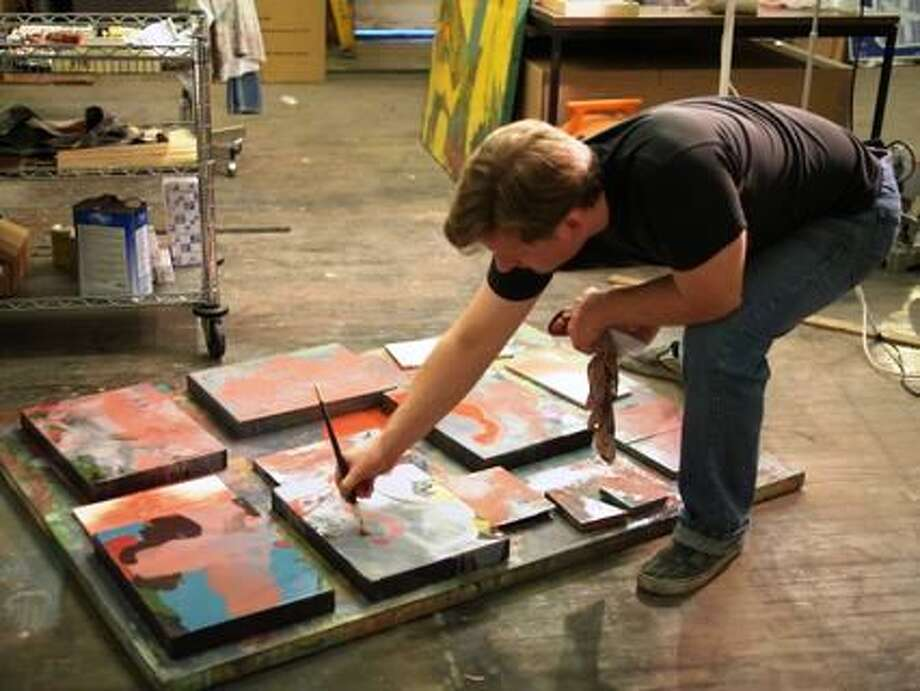 San Antonio artist James Joffe uses a variety of methods and tools to create his abstact paintings, including pours, brush and squeegee. Photo: Courtesy Of The Artist