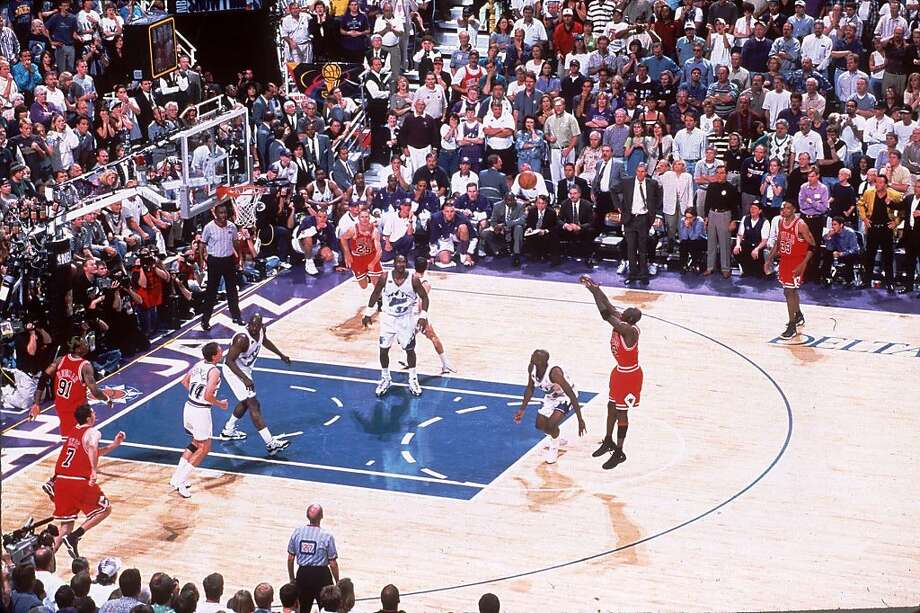 Michael Jordan makes the winning shot during Game 6 of the NBA Finals against the Utah Jazz at the Delta Center in Salt Lake City, Utah, in this June 14, 1998 photo.  Photo: Scott Cunningham