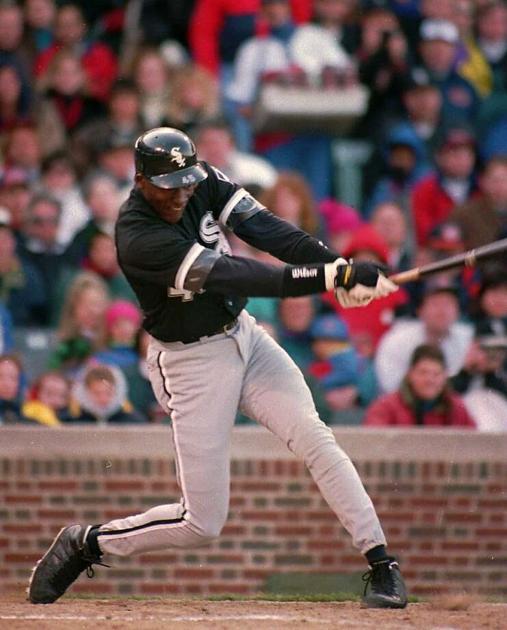 Chicago White Sox outfielder Michael Jordan follows through on his sixth inning RBI double against the Chicago Cubs April 7, 1994 in Chicago.  Photo: Mark Elias, Associated Press