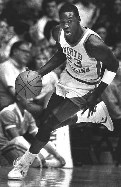 All-America guard Michael Jordan drives downcourt against the University of Tennessee-Chattanooga in