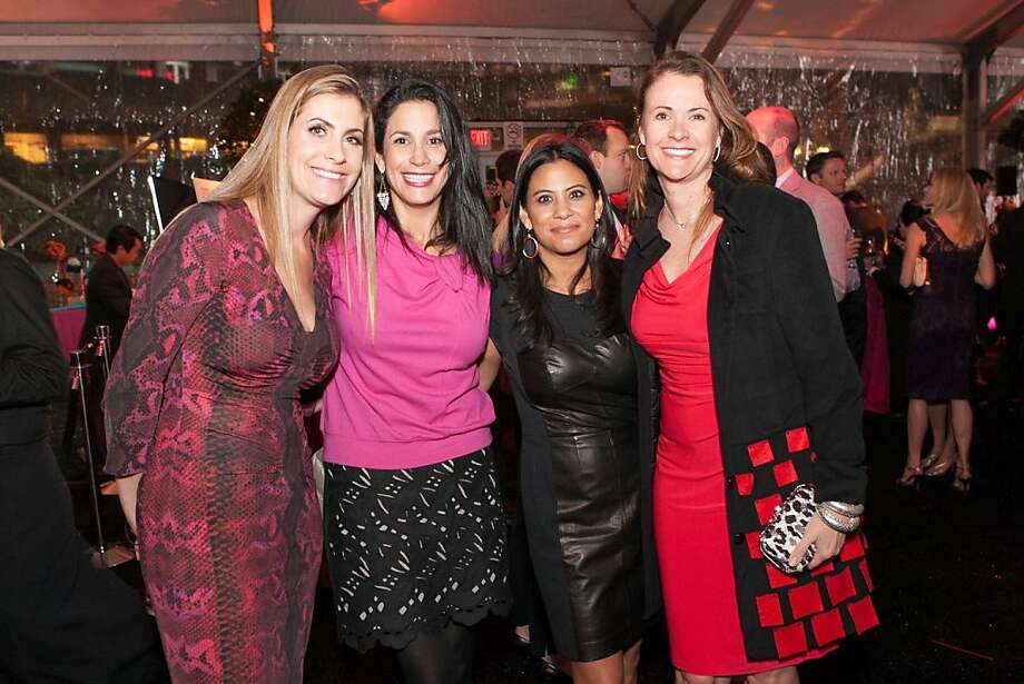 Jennifer Cook, Donna Hoghooghi, Lizzie Marinchak and Tanya Petersom at the Hearts After Dark event on Valentine's Day evening. Photo: Drew Altizer Photography