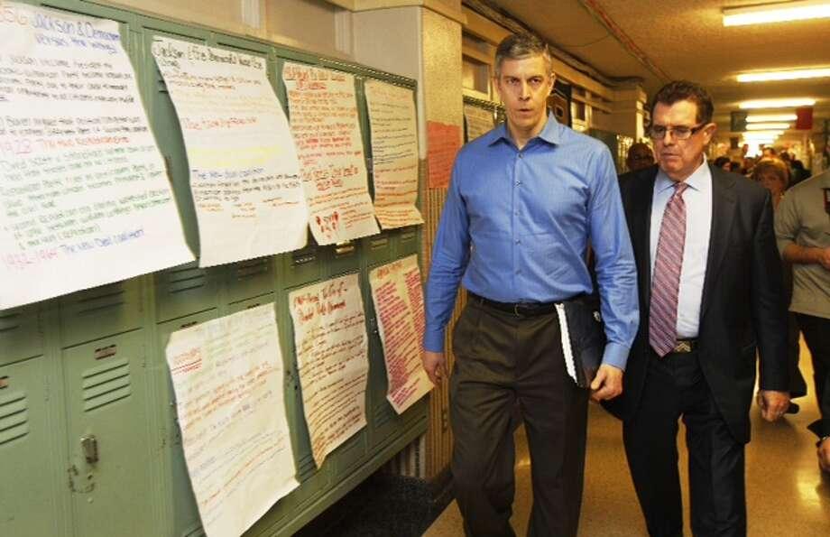 Education Secretary Arne Duncan visits Lee High School Friday, Feb. 15, 2013. (Brett Coomer/Chronicle)