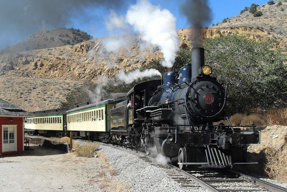 The Virginia & Truckee Railroad hauls visitors up the reconstructed 10-mile route, which runs along much of the original line. Photo: Virginia & Truckee Railroad